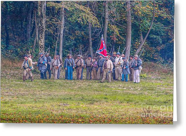 Army Of Northern Virgina Greeting Cards - Forming Ranks Confederate Soldiers Greeting Card by Randy Steele