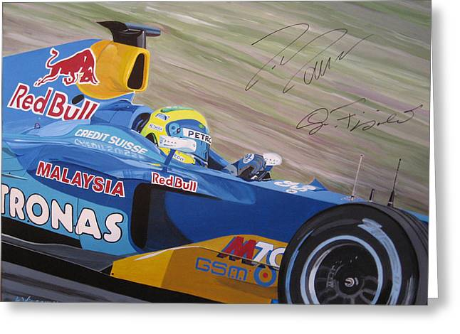 Sauber Greeting Cards - Formula one racing car Sauber Petronas Greeting Card by Antje Wieser