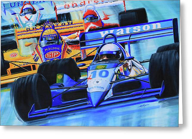 Canadian Sports Artist Greeting Cards - Formula1 Wall Mural Greeting Card by Hanne Lore Koehler
