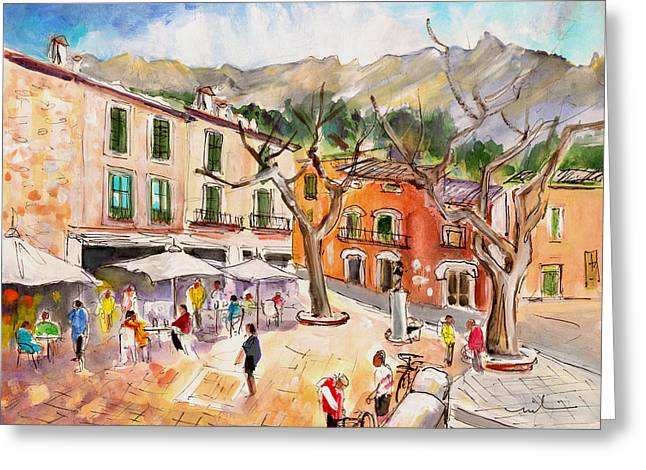 Town Square Drawings Greeting Cards - Fornalutx 01 Greeting Card by Miki De Goodaboom