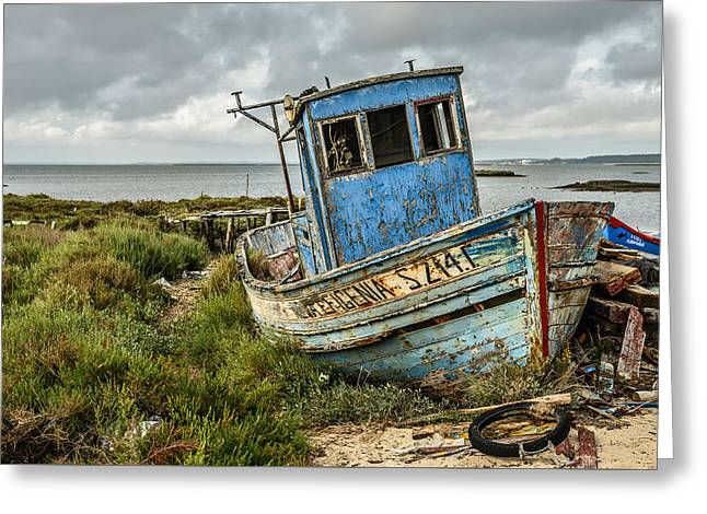 Steel Pier Greeting Cards - Forsaken Fishing Boat Greeting Card by Marco Oliveira
