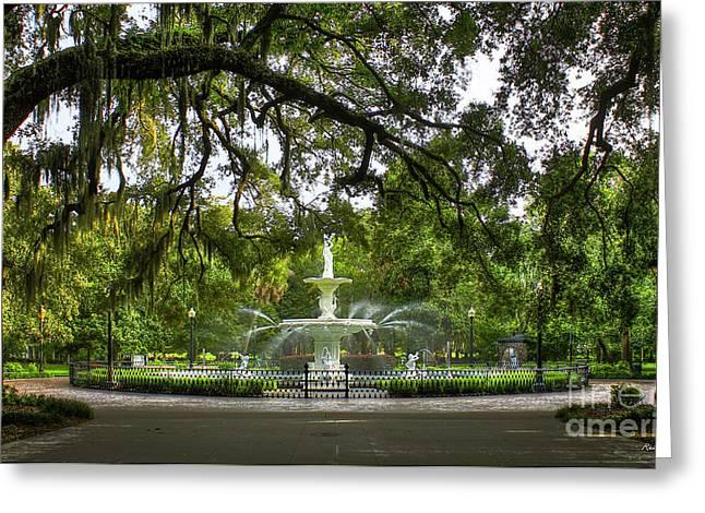 Forsyth Park Fountain Historic Savannah Georgia Greeting Card by Reid Callaway