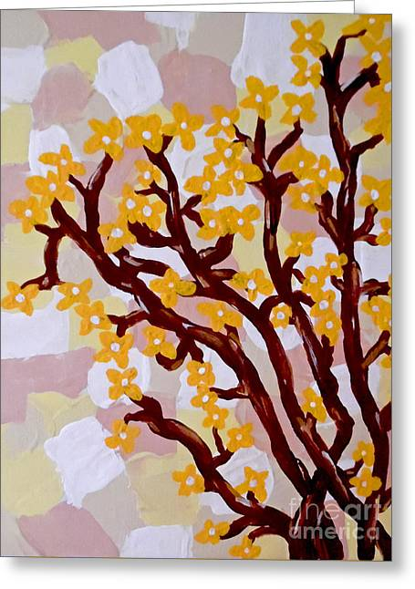 Patch Greeting Cards - Forsythia Greeting Card by Jilian Cramb