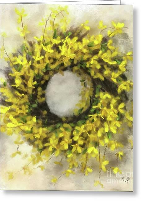 Forsythia Wreath Greeting Card by Lois Bryan