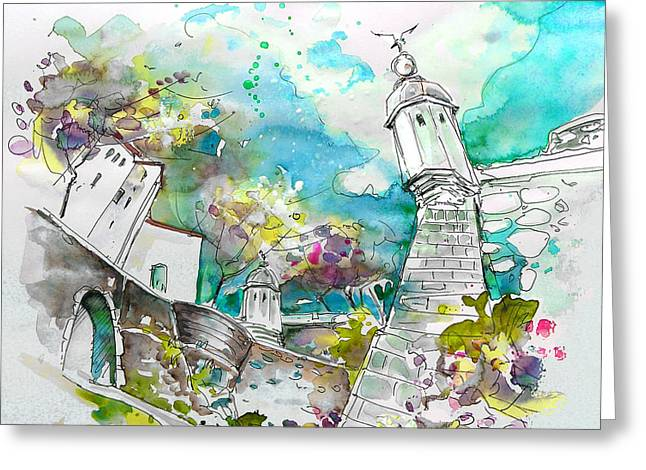 Portugal Art Greeting Cards - Fort and Houses in Valenca Greeting Card by Miki De Goodaboom