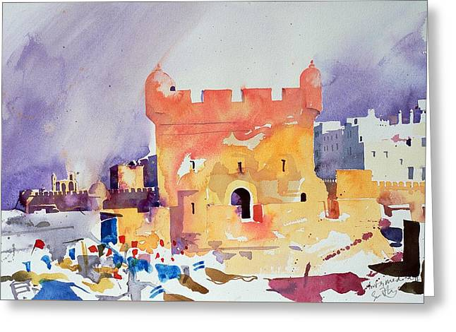Mediterranean Landscape Greeting Cards - Fort and Medina II Greeting Card by Simon Fletcher
