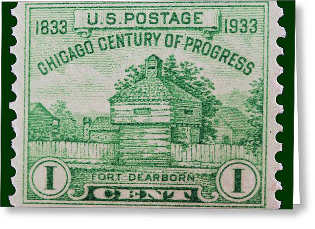 James Hill Greeting Cards - Fort Dearborn postage stamp Greeting Card by James Hill