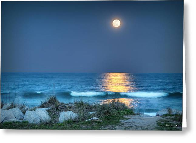Recently Sold -  - Moon Beach Greeting Cards - Fort Fisher Moonbeam Greeting Card by Phil Mancuso