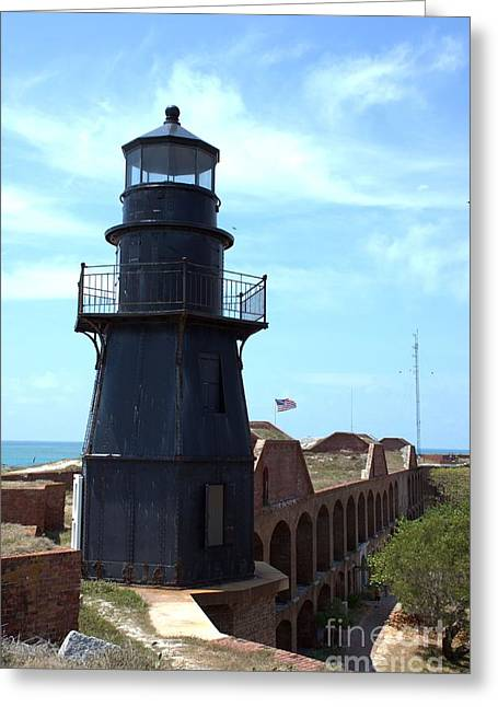 Dry Tortugas Greeting Cards - Fort Jefferson Lighthouse Greeting Card by Edna Weber
