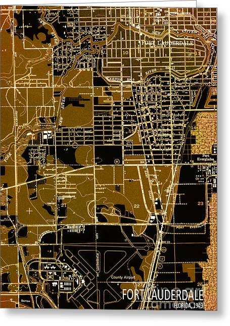 Old Map Mixed Media Greeting Cards - Fort Lauderdale 1949 Map Greeting Card by Pablo Franchi