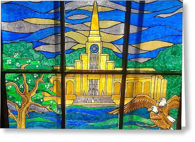 Window Of Life Mixed Media Greeting Cards - Fort Lauderdale Temple Stained glass Greeting Card by Abriel Mauerman