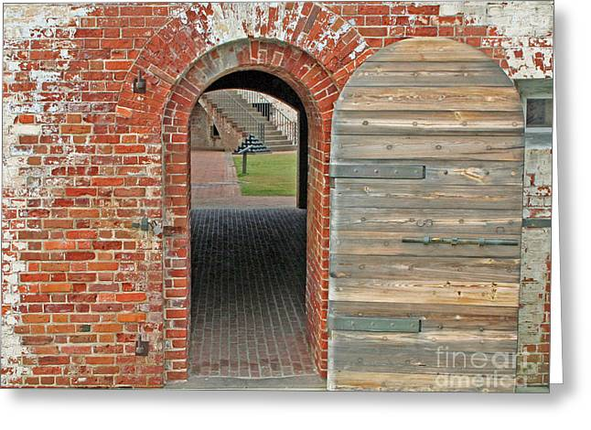 Wooden Stairs Greeting Cards - Fort Macon doorway Greeting Card by Steve  Gass