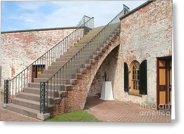 Civil Greeting Cards - Fort Macon stairway Greeting Card by Steve  Gass