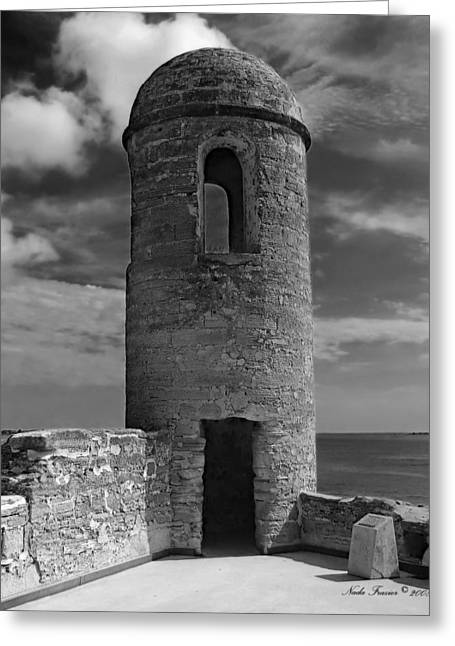 Guard Tower Greeting Cards - Fort Marion Tower  Greeting Card by Nada Frazier