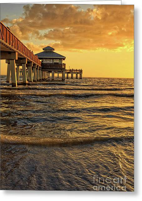 Fort Myers Beach Fishing Pier At Sunset Greeting Card by Edward Fielding