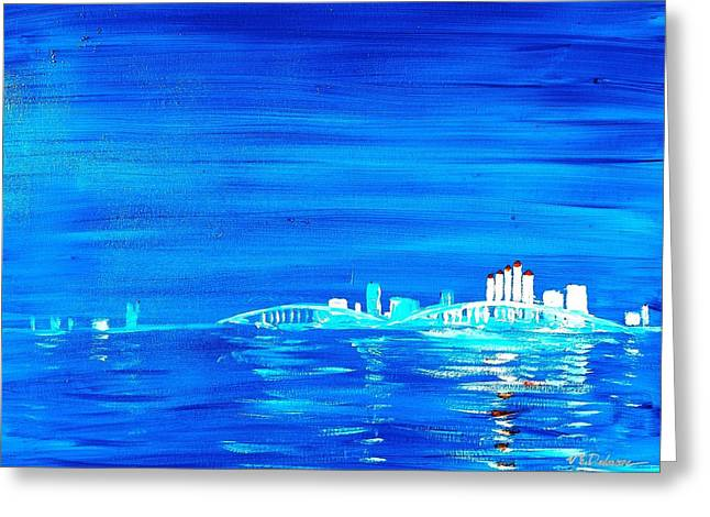 Fort Myers By Night Greeting Card by Vic Delnore