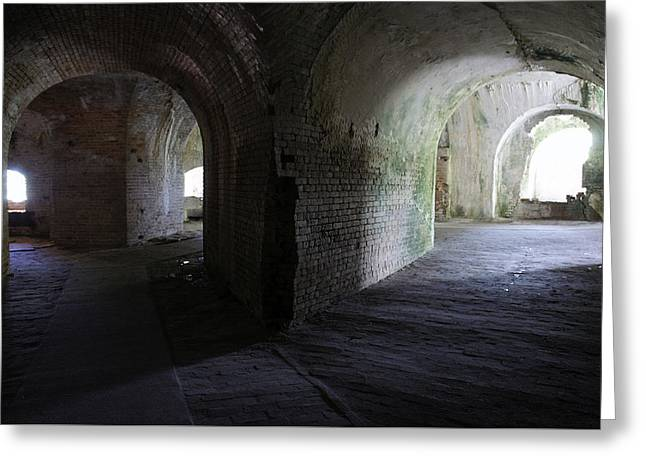 Civil War Battle Site Greeting Cards - Fort Pickens Corridor 2 Greeting Card by Laurie Perry