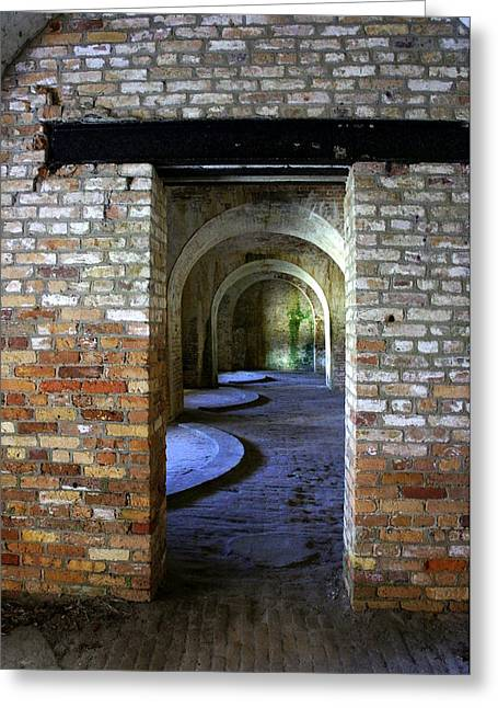 Civil War Battle Site Greeting Cards - Fort Pickens interior Greeting Card by Laurie Perry
