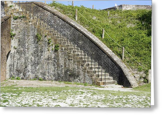 Civil War Battle Site Greeting Cards - Fort Pickens Stairs Greeting Card by Laurie Perry