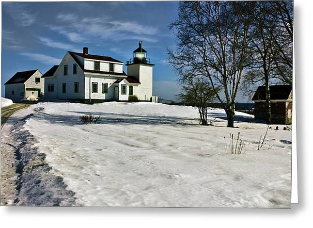 Winter In Maine Greeting Cards - Fort Point Light Greeting Card by M S McKenzie