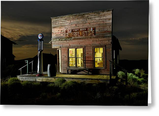 False Front Greeting Cards - Fort Rock General Store Greeting Card by Christian Heeb