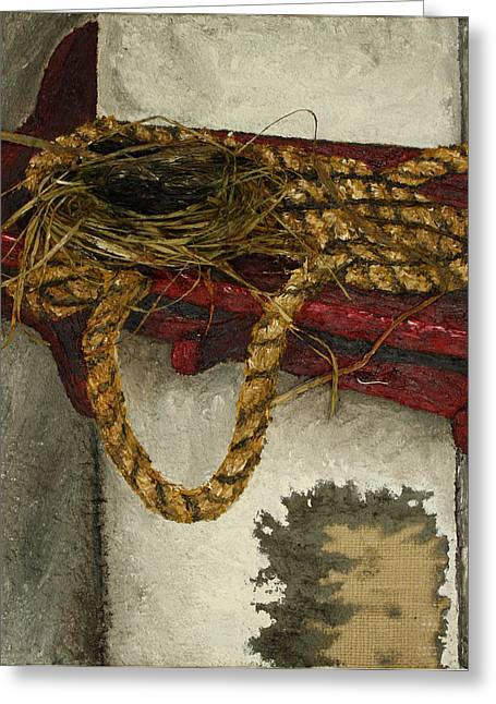 Oil Tapestries - Textiles Greeting Cards - Fort Toulouse Kitchen Bird s Nest Greeting Card by Beth Parrish
