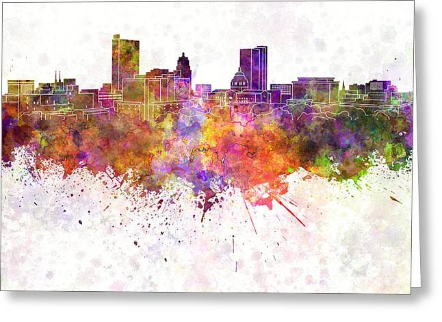Indiana Paintings Greeting Cards - Fort Wayne skyline in watercolor background Greeting Card by Pablo Romero