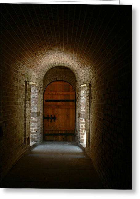 Sunlit Door Greeting Cards - Fort Wing Greeting Card by Gazie Nagle