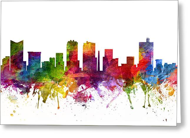 Watercolour Drawings Greeting Cards - Fort Worth Cityscape 06 Greeting Card by Aged Pixel