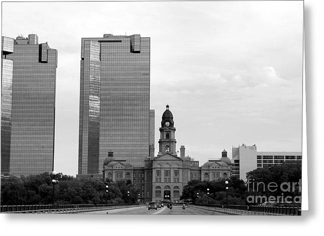 Historic Bridge Photographs Digital Greeting Cards - Fort Worth Courthouse Greeting Card by Venus