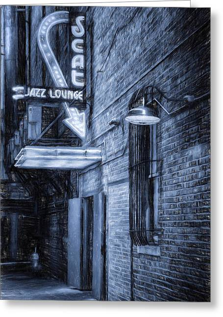 Texting Greeting Cards - Fort Worth Impressions Scat Lounge BW Greeting Card by Joan Carroll