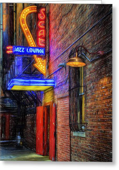 Night Lamp Greeting Cards - Fort Worth Impressions Scat Lounge Greeting Card by Joan Carroll