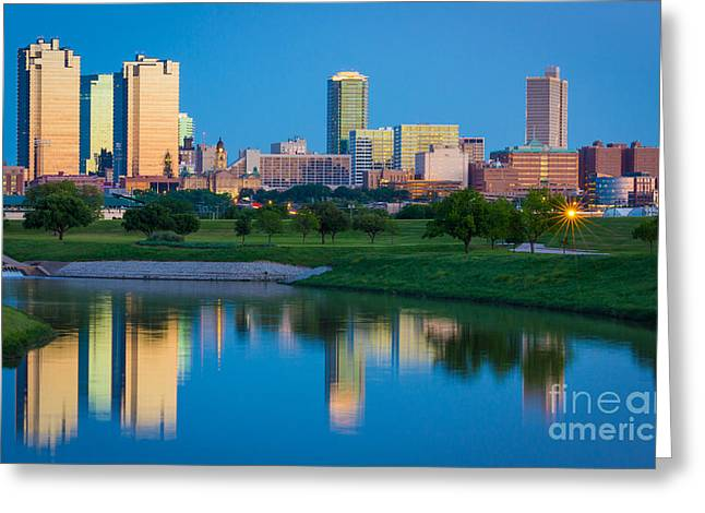 Glass Reflecting Greeting Cards - Fort Worth Mirror Greeting Card by Inge Johnsson
