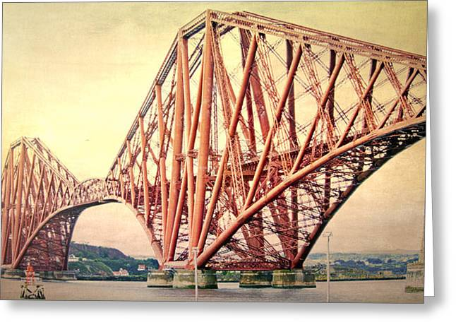 Victorian Greeting Cards - Forth Bridge Greeting Card by Hal Halli