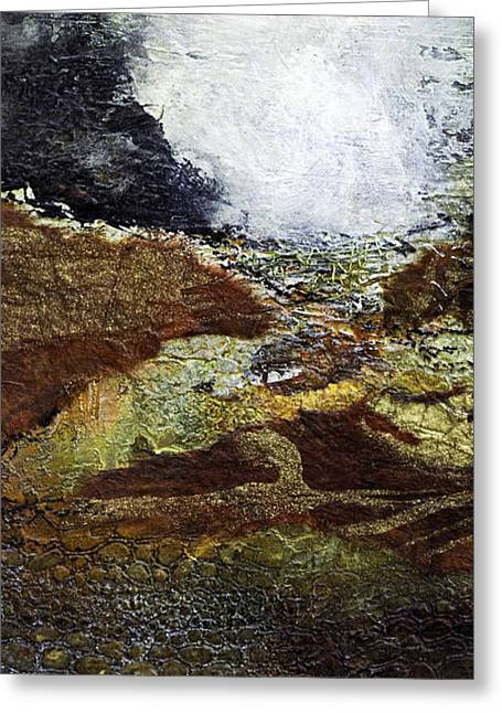Earth Mixed Media Greeting Cards - Eruption Greeting Card by Barb Pearson