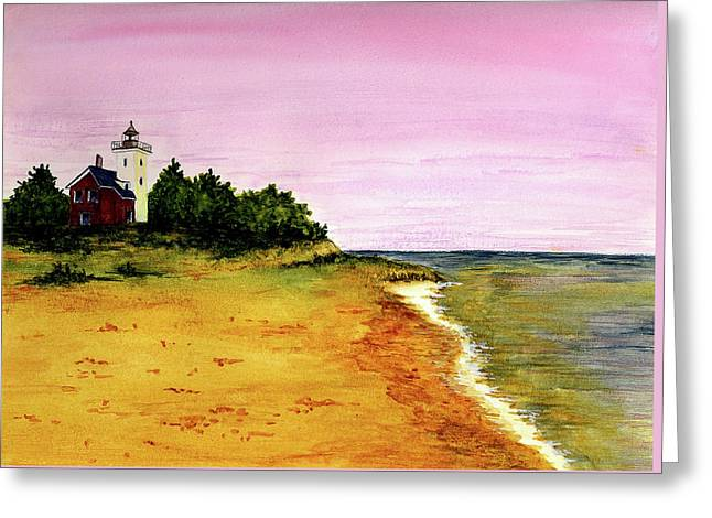 Forty Paintings Greeting Cards - Forty Mile Point Lighthouse Greeting Card by Michael Vigliotti
