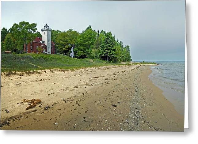 Forty Greeting Cards - Forty Mile Point Lighthouse Springtime Greeting Card by Michael Peychich