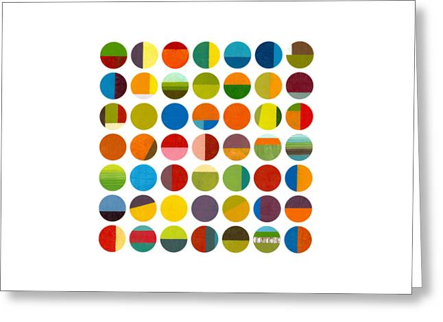 Geometric Image Greeting Cards - Forty Nine Circles Greeting Card by Michelle Calkins