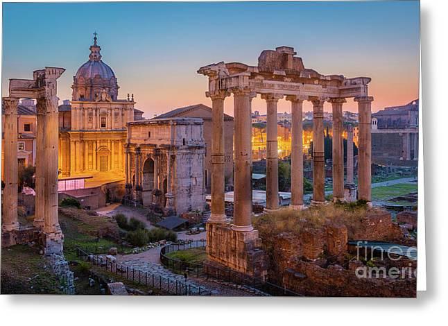 Forum Romanum Dawn Greeting Card by Inge Johnsson