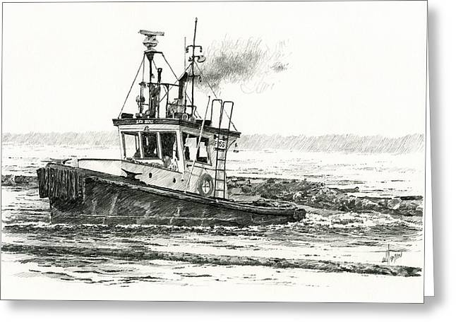 Universities Drawings Greeting Cards - FOSS Tugboat SEA DUKE Greeting Card by James Williamson