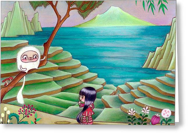 Flower Pink Fairy Child Greeting Cards - Found My Friend by Rice Paddies Greeting Card by Kaori  Hamura Long