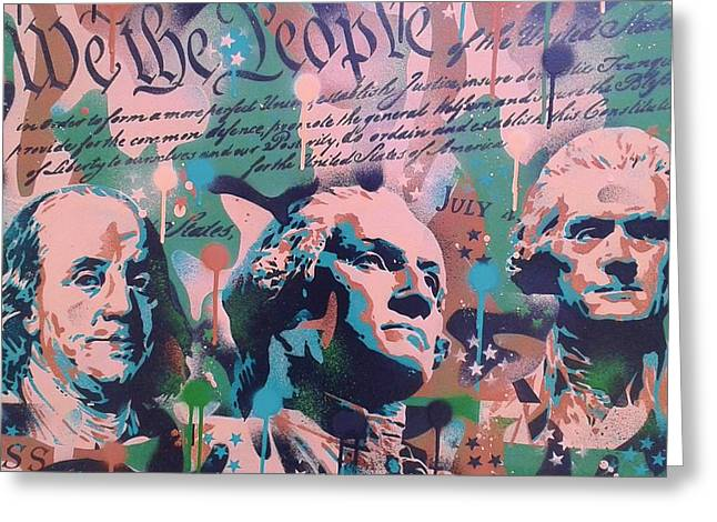 4th July Paintings Greeting Cards - Founding Fathers Greeting Card by Leon Keay