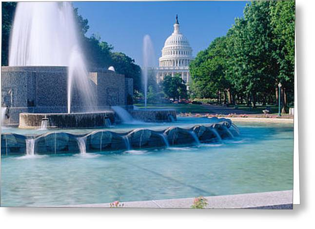 Seat Of Power Greeting Cards - Fountain And Us Capitol Building Greeting Card by Panoramic Images