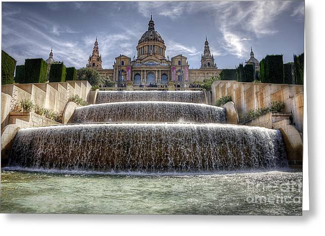 Concrete Sculpture Greeting Cards - Fountain at Placa DEspanya Greeting Card by Svetlana Sewell
