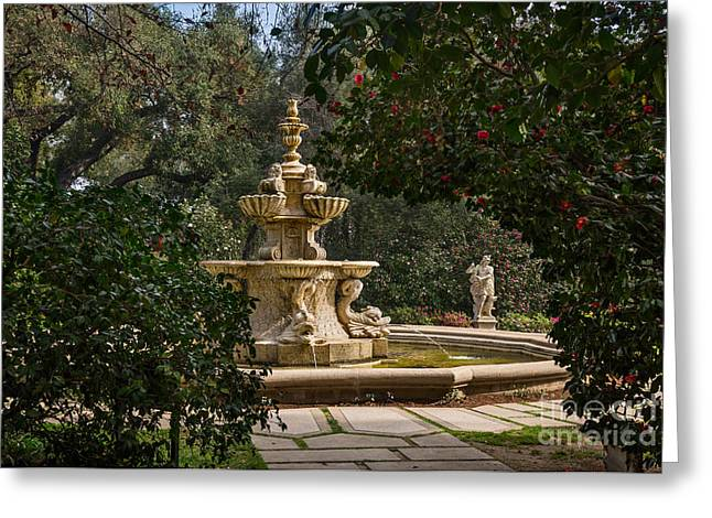 Three Tiered Fountain Greeting Cards - Fountain Beyond the Trees Greeting Card by Jamie Pham