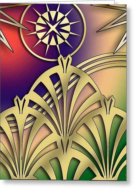 Fountain Design 2 - Chuck Staley Greeting Card by Chuck Staley