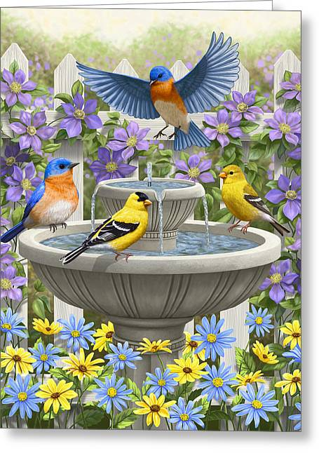 American Goldfinch Greeting Cards - Fountain Festivities - Birds and Birdbath Painting Greeting Card by Crista Forest