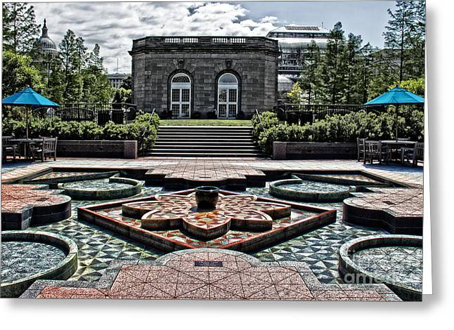 Flag Of Usa Greeting Cards - Fountain Garden National Arboretum Greeting Card by Tom Gari Gallery-Three-Photography