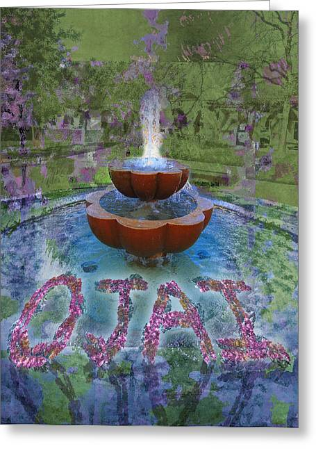 Mary Ogle Greeting Cards - Fountain in Ojai California Greeting Card by Mary Ogle and Miki Klocke
