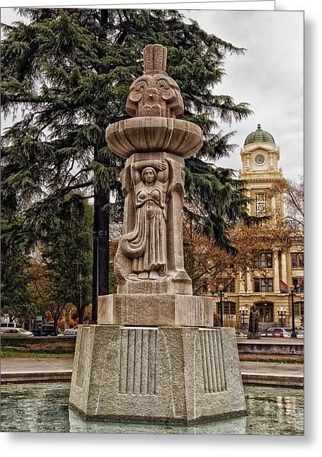 Cesar Greeting Cards - Fountain In Sacramentos Cesar Chavez Plaza Greeting Card by Mountain Dreams
